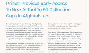 PRIMER PROVIDES EARLY ACCESS TO NEW AI TOOL TO FILL COLLECTION GAPS IN AFGHANISTAN